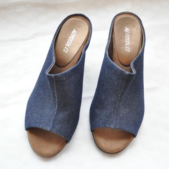 28a17c95477ab AEROSOLES Shoes - Aerosoles Denim Wedge Mules - Never Worn